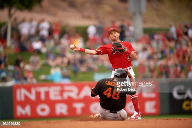 Los Angeles Angels of Anaheim Ian Kinsler in action throwing vs San Francisco Giants during spring training game at Tempe Diablo Stadium Tempe AZ...