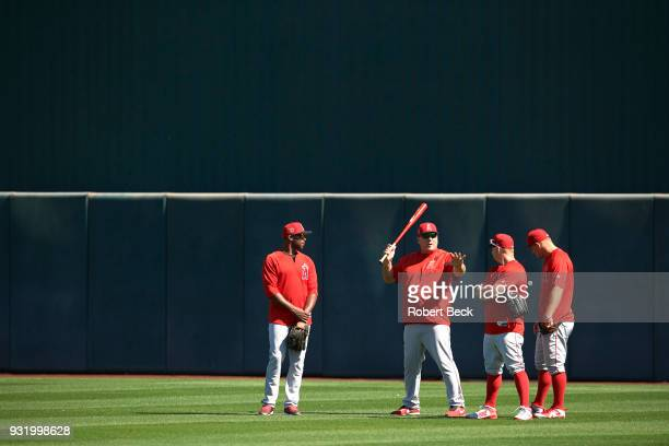 Los Angeles Angels of Anaheim manager Mike Scioscia in outfield holding fungo bat before spring training B game at Tempe Diablo Stadium Tempe AZ...