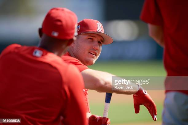 Los Angeles Angels of Anaheim Mike Trout during batting practice during spring training at Tempe Diablo Stadium Tempe AZ CREDIT Robert Beck