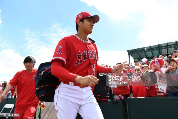 Los Angeles Angels of Anaheim Shohei Ohtani before spring training game vs Texas Rangers at Tempe Diablo Stadium Tempe AZ CREDIT Robert Beck