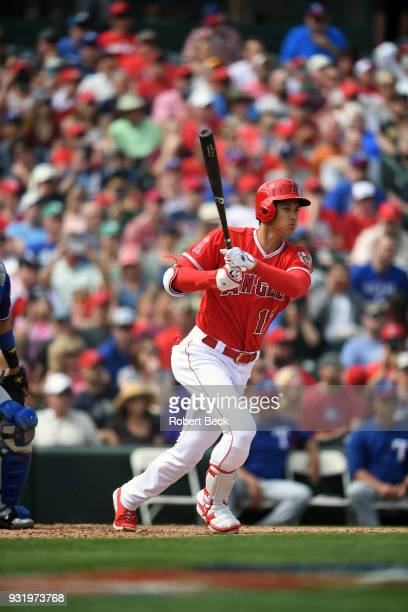 Los Angeles Angels of Anaheim Shohei Ohtani in action at bat vs Texas Rangers during spring training game at Tempe Diablo Stadium Tempe AZ CREDIT...