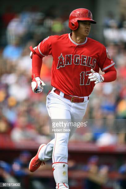 Los Angeles Angels of Anaheim Shohei Ohtani in action running bases vs Texas Rangers during spring training game at Tempe Diablo Stadium Tempe AZ...