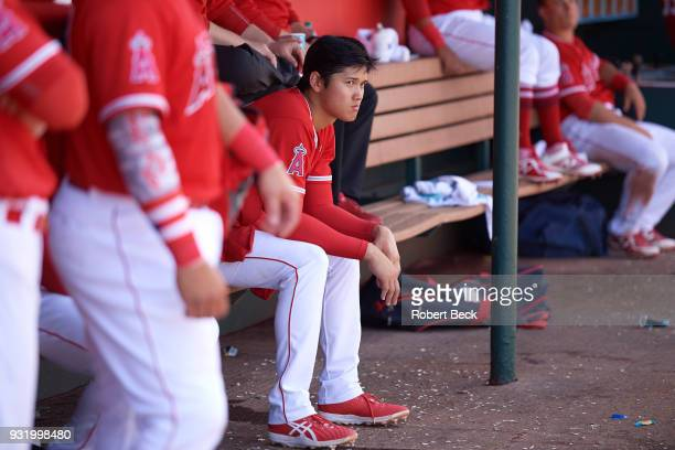 Los Angeles Angels of Anaheim Shohei Ohtani in dugout during spring training B game at Tempe Diablo Stadium Tempe AZ CREDIT Robert Beck