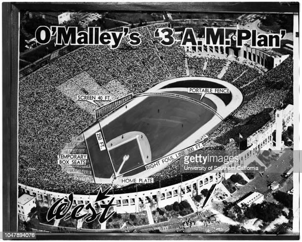 Baseball Los Angeles Coliseum O'Malley's 3 am plan 18 January 1958 'Sports' Los Angeles California USA Los Angeles Coliseum