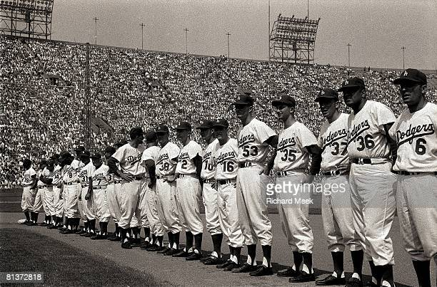 Baseball Los Angeles Dodgers line up during opening day game vs San Francisco Giants at Memorial Coliseum Los Angeles CA 4/18/1958