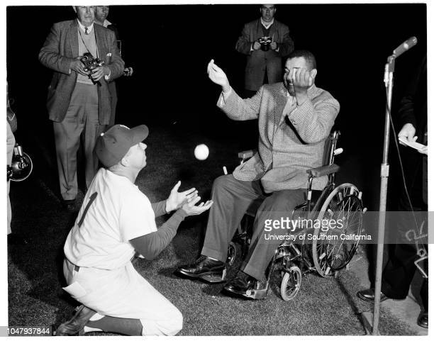 Baseball Los Angeles Dodgers opening game preliminary ceremonies 14 April 1959 Roy Campanella Caption slip reads 'Photographer Jensen Assignment...
