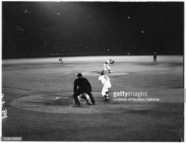 Baseball Los Angeles Dodgers versus Philadelphia 11 April 1961 Leo DurocherJohn GibsonWalt AlstonTony TaylorMaury WillsWally MoonNorm Larker Caption...