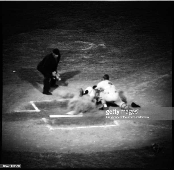 Baseball Los Angeles Dodgers versus Saint Louis Cards 6 July 1961 John RoseboroNorm LarkerRon FairleyChuck LillisCharlie Neal Caption slip reads...