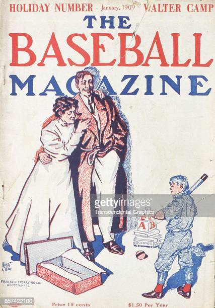 Baseball Magazine features a cartoon illustration of a mother and father as they smile at their son who has just unwrapped a gift of a baseball bat...