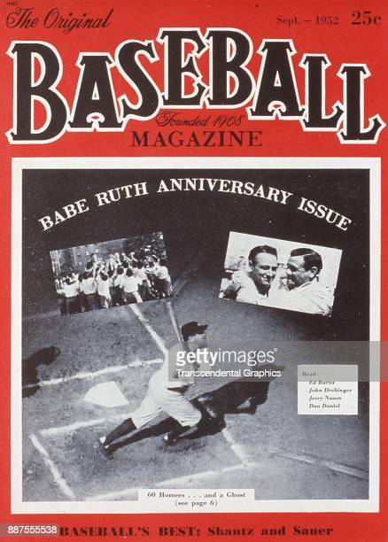Baseball Magazine features a collage of several photos of baseball player Babe Ruth on the New York Yankees as part of a 'Babe Ruth Anniversary...