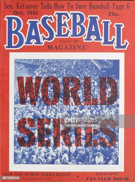 Baseball Magazine features a photo of a crowded grandstand as part of a World Series issue October 1951