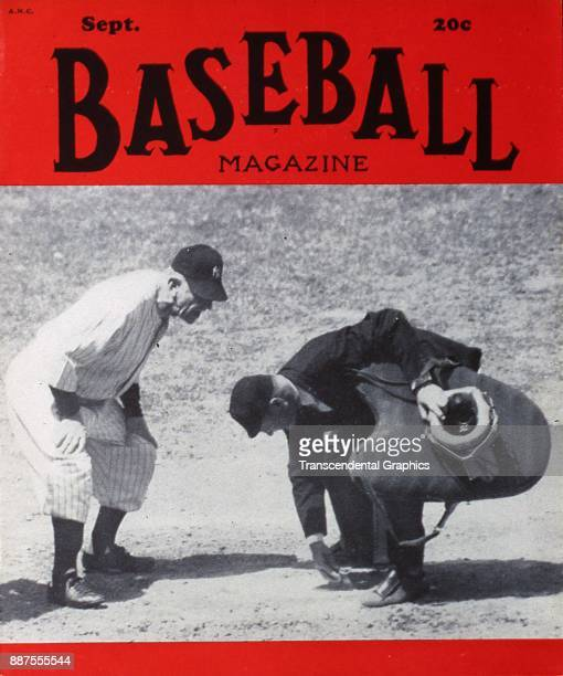 Baseball Magazine features a photo of baseball manager Casey Stengel of the New York Yankees at home plate with an unidentified umpire September 1949