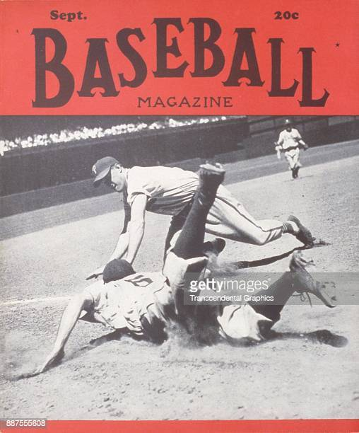 Baseball Magazine features a photo of onfield action at third base September 1946