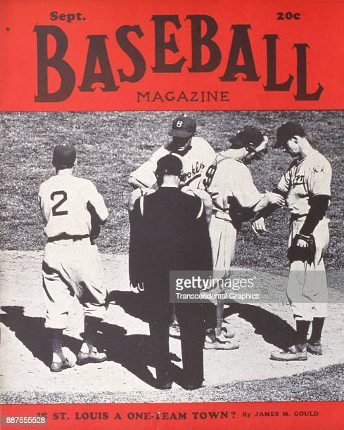 Baseball Magazine features a photo of the umpire and various members of the Brooklyn Dodgers baseball team on the pitcher's mound, September 1939.