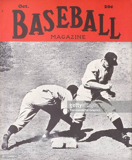 Baseball Magazine features a photograph of a play at first base October 1939