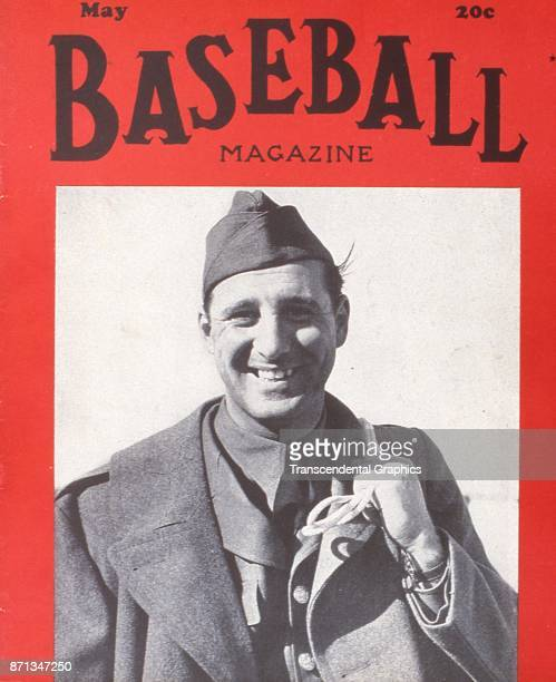 Baseball Magazine features a photograph of baseball player Hank Greenberg formerly of the Detroit Tigers in his military uniform for his World War II...