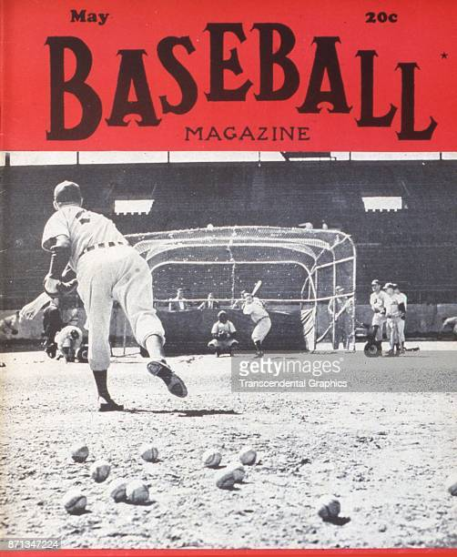 Baseball Magazine features a photograph of batting practice at Fenway Park Boston Massachusetts May 1947