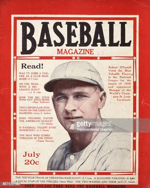 Baseball Magazine features a photograph of Bob O'Farrell of the Philadelphia Athletics July 1927