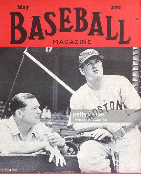 Baseball Magazine features a photograph of Boston Red Sox team owner Tom Yawkey and manager Joe Cronin , May 1945.