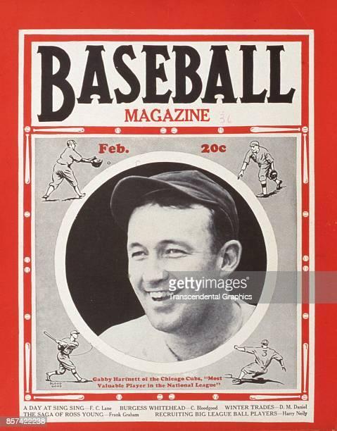 Baseball Magazine features a photograph of catcher Gabby Hartnett of the Cubs February 1936
