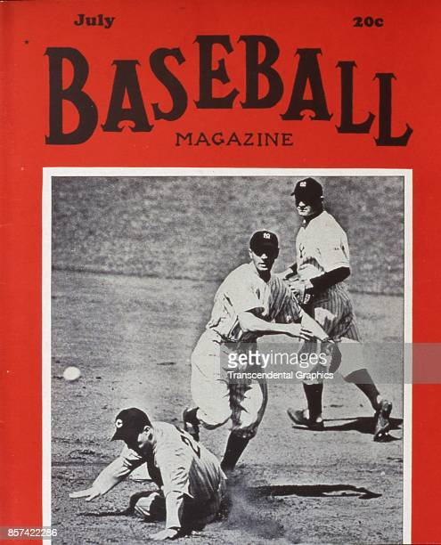 Baseball Magazine features a photograph of Frankie Crosetti , of the Yankees, as he completes a double play, July 1933.