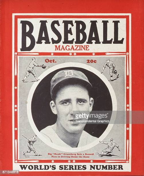 Baseball Magazine features a photograph of Hank Greenberg of the Detroit Tigers for the yearly World Series edition October 1935