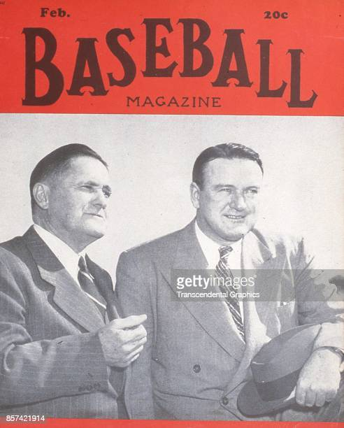 Baseball Magazine features a photograph of managers Joe McCarthy, of the Yankees, and Joe Cronin, of the Boston Red Sox, February 1948.