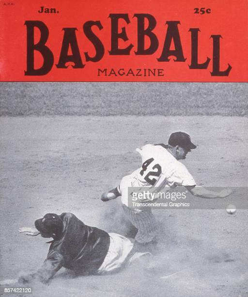 Baseball Magazine features a photograph of onfield action at second base, January 1951.