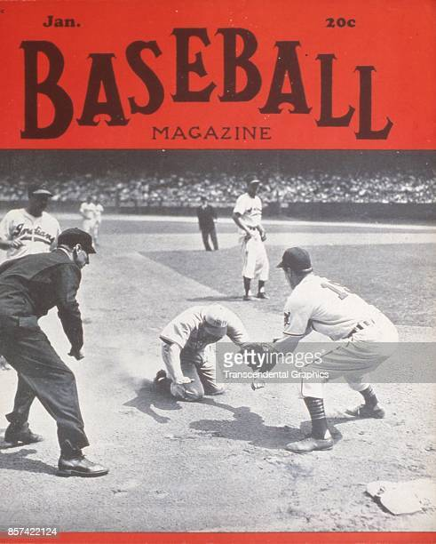 Baseball Magazine features a photograph of onfield action at third base January 1948