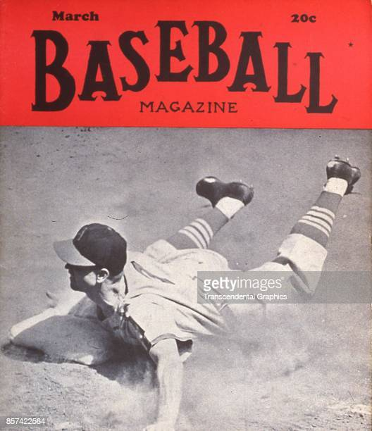 Baseball Magazine features a photograph of onfield action at third base March 1943