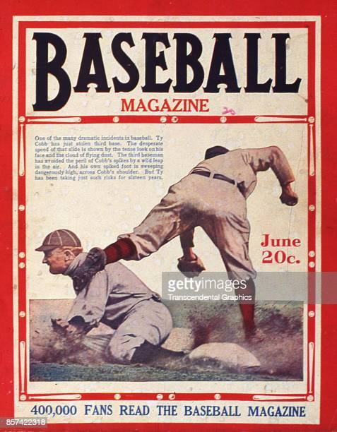 Baseball Magazine features a photograph of outfielder Ty Cobb as he slides into third base June 1920