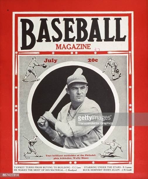 Baseball Magazine features a photograph of outfielder Wally Moses of the Philadelphia Athletics July 1937