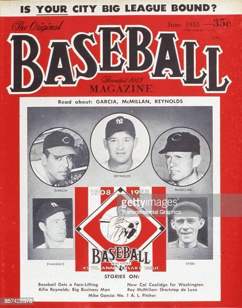 Baseball Magazine features a photograph of players clockwise from lower left Joe Dimaggio Mike Garcia Allie Reynolds Roy McMillan and Johnny Evers...
