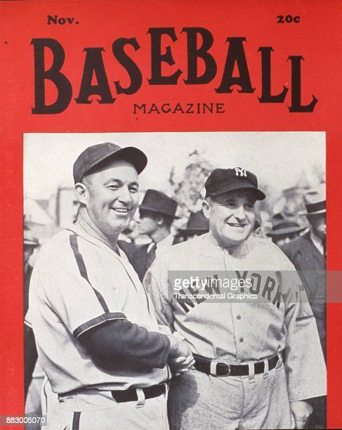 Baseball Magazine features a portraif of baseball managers Gabby Hartnett of the Chicago Cubs and Joe McCarthy of the New York Yankees as they hands...