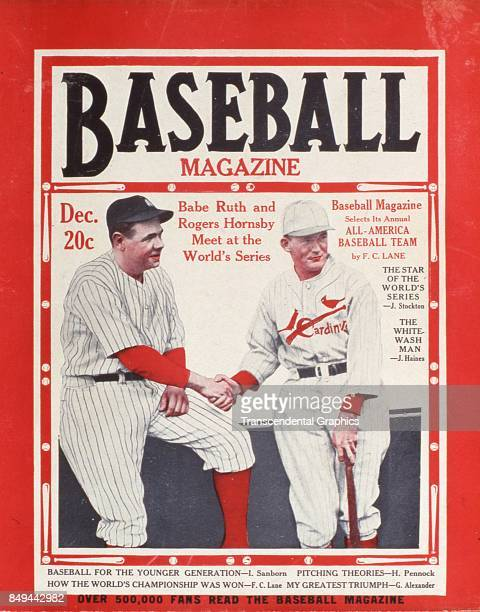 Baseball Magazine features a portrait of baseball players Babe Ruth and Rogers Hornsby as they shake hands