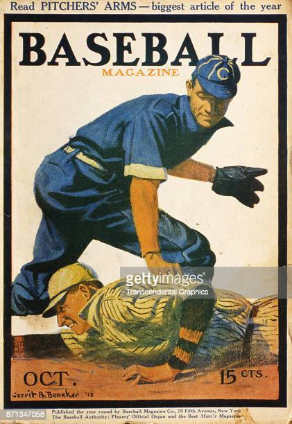 Baseball Magazine features an illustration of a play at second base October 1913
