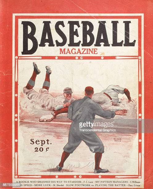 Baseball Magazine features an illustration of onfield action as a player slides into a base while his opponant tries to tag him out September 1928