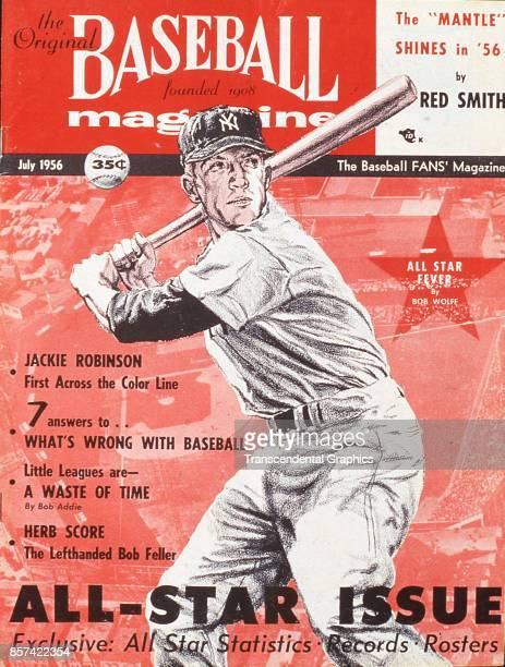 Baseball Magazine features an illustration of outfielder Mickey Mantle at bat July 1956