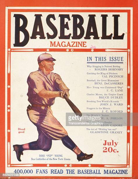 Baseball Magazine features an illustration of outfielder Ross Youngs of the Giants at bat July 1920