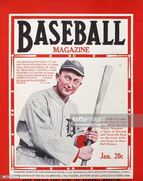 Baseball Magazine features an illustration of outfielder Ty Cobb January 1927