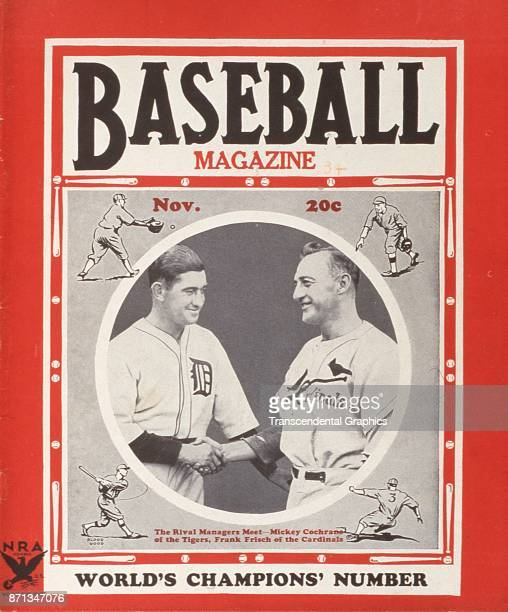Baseball Magazine features illustrations of on-field action around a photograph of Detroit Tigers manager Bill Terry and St Louis Cardinals manager...