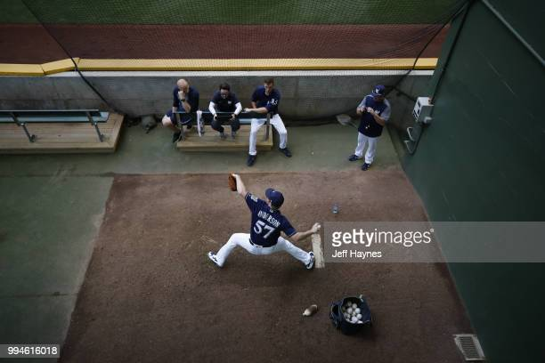 Milwaukee Brewers Chase Anderson warming up in bullpen before game vs Kansas City Royals at Miller Park Milwaukee WI CREDIT Jeff Haynes