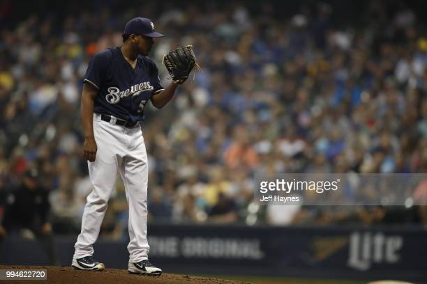 Milwaukee Brewers Freddy Peralta in action pitching vs Kansas City Royals at Miller Park Milwaukee WI CREDIT Jeff Haynes