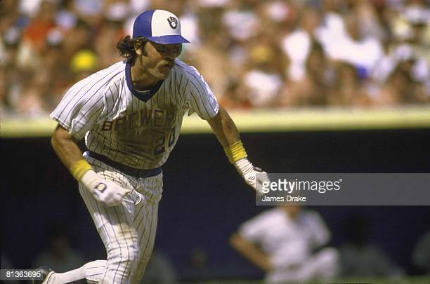 Baseball Milwaukee Brewers Gorman Thomas in action vs Boston Red Sox Milwaukee WI 7/4/1982