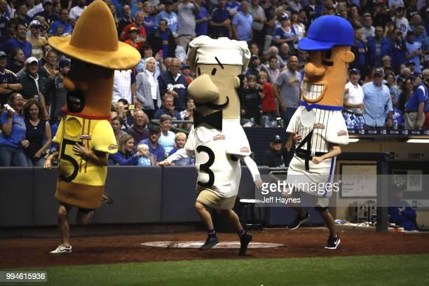 Milwaukee Brewers Johnsonville 'sausage race' during game vs Kansas City Royals at Miller Park Milwaukee WI CREDIT Jeff Haynes