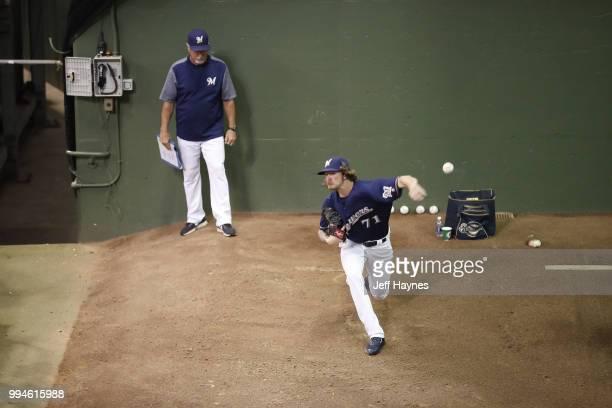 Milwaukee Brewers Josh Hader warming up in bullpen before game vs Kansas City Royals at Miller Park Milwaukee WI CREDIT Jeff Haynes