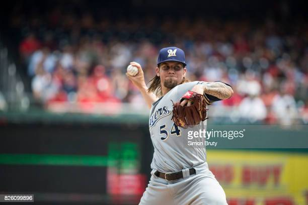 Milwaukee Brewers Michael Blazek in action pitching vs Washington Nationals at Nationals Park Washington DC CREDIT Simon Bruty