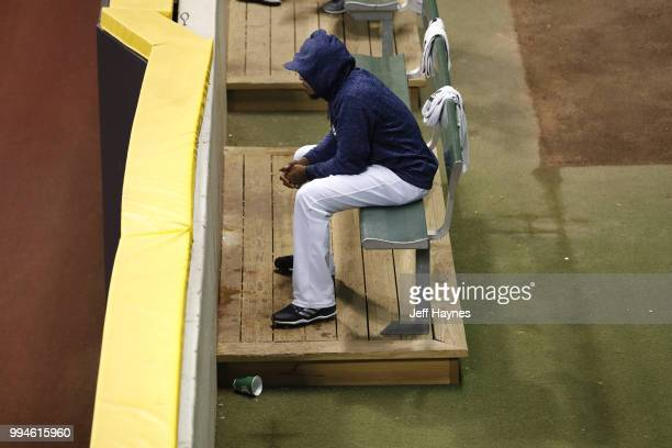 Milwaukee Brewers pitcher sitting in bullpen before game vs Kansas City Royals at Miller Park Milwaukee WI CREDIT Jeff Haynes