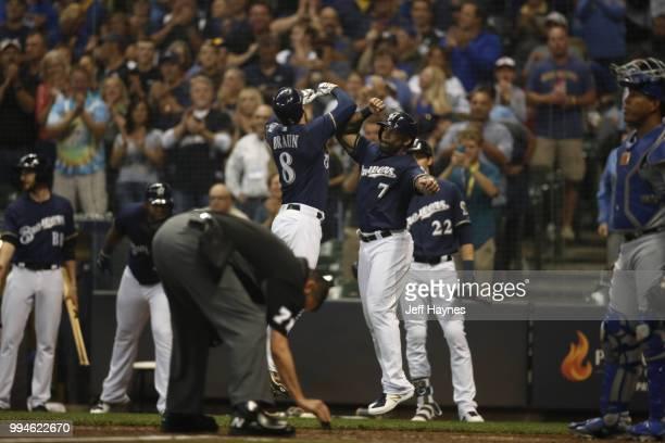 Milwaukee Brewers Ryan Braun and Eric Thames victorious during game vs Kansas City Royals at Miller Park Milwaukee WI CREDIT Jeff Haynes