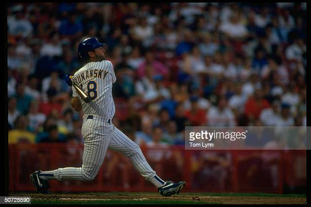 Milwaukee Brewers Tom Brunansky in action alone, AB.